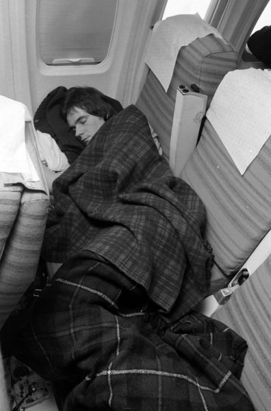 Barry Sheene has a nap on the flight to Venezuela.