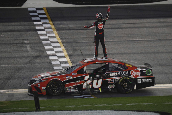 #20: Christopher Bell, Joe Gibbs Racing, Toyota Camry Bass Pro Shops celebrates his win