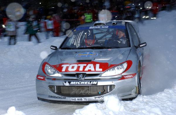 2002 World Rally ChampionshipUddeholm Swedish Rally, 1st-3rd February 2002.Marcus Gronholm on stage 1.Photo: Ralph Hardwick/LAT