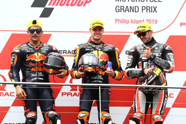 Podium: race winner Jorge Martin, KTM Ajo, second place Brad Binder, KTM Ajo, third place Thomas Luthi, Intact GP
