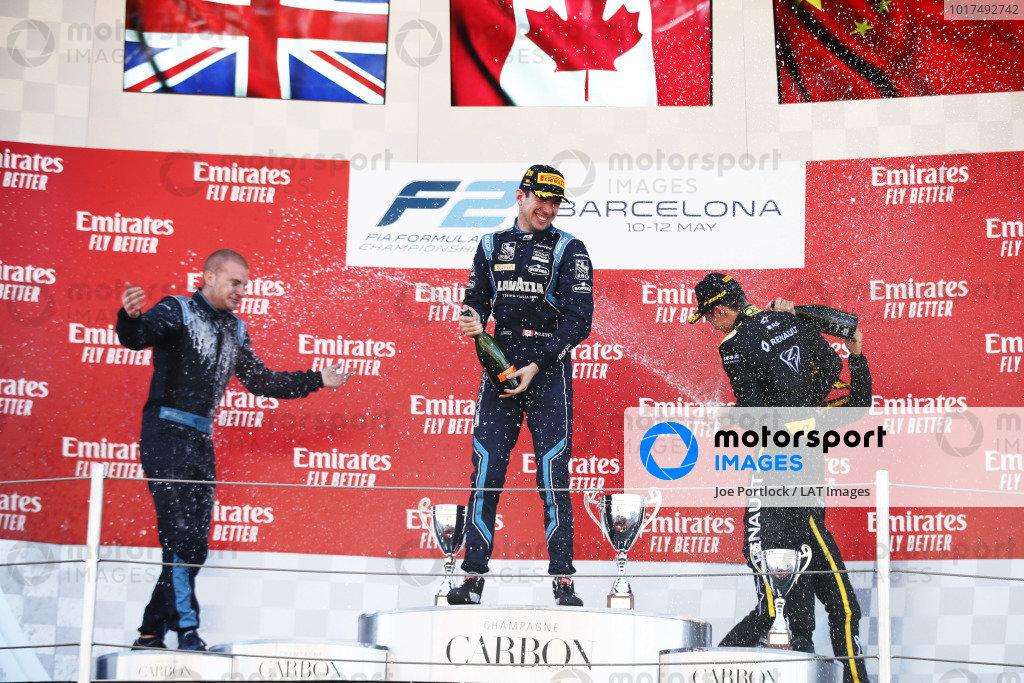 Nicholas Latifi (CAN, DAMS), celebrates on the podium with Jack Aitken (GBR, CAMPOS RACING), and Guanyu Zhou (CHN, UNI VIRTUOSI)
