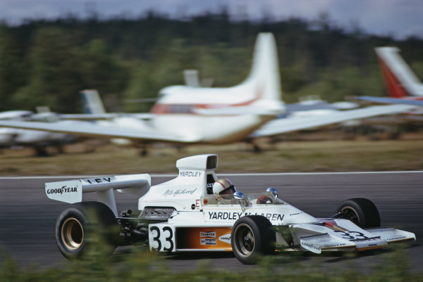 Mike Hailwood, McLaren M23 Ford, during practice.