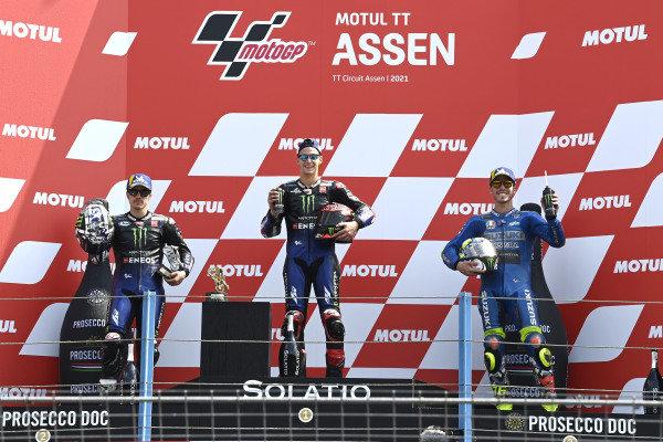 Podium: race winner Fabio Quartararo, Yamaha Factory Racing, second place Maverick Vinales, Yamaha Factory Racing, third place Joan Mir, Team Suzuki MotoGP.