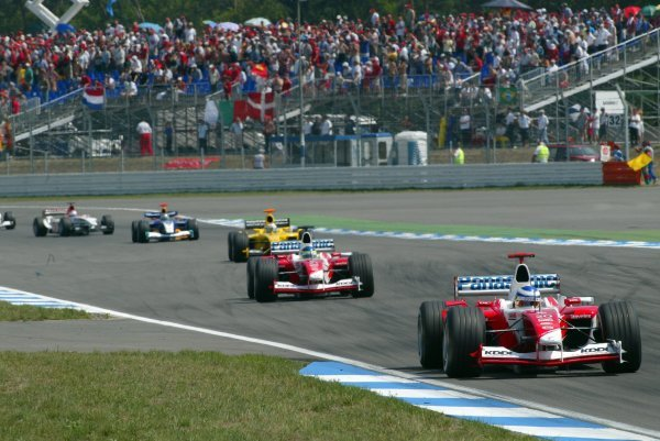 Fifth placed Olivier Panis (FRA) Toyota TF103 leads team mate Cristiano Da Matta (BRA) Toyota TF103, who finished sixth.