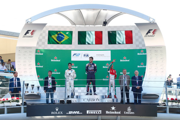 2017 FIA Formula 2 Round 9. Autodromo Nazionale di Monza, Monza, Italy. Sunday 3 September 2017. Sergio Sette Camara (BRA, MP Motorsport), Luca Ghiotto (ITA, RUSSIAN TIME), Antonio Fuoco (ITA, PREMA Racing).  Photo: Sam Bloxham/FIA Formula 2. ref: Digital Image _J6I4671