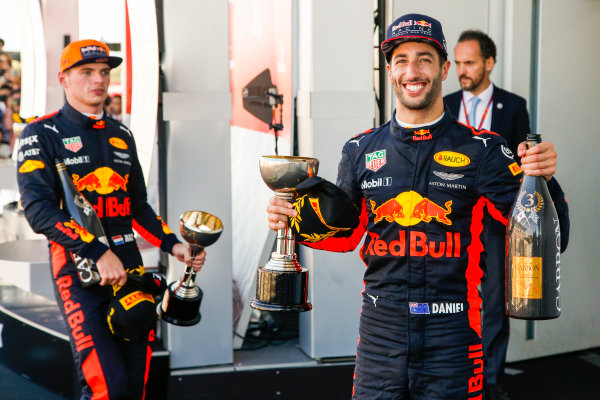 Suzuka Circuit, Japan. Sunday 8 October 2017. Max Verstappen, Red Bull, 2nd Position, and Daniel Ricciardo, Red Bull Racing, 3rd Position, with their trophies. World Copyright: Joe Portlock/LAT Images  ref: Digital Image _L5R0403