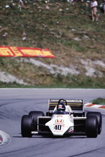 1983 Austrian Grand Prix  Osterreichring, Austria. 12-14 August 1983.  Stefan Johansson, Spirit 201C Honda, 12th position.  Ref: 83AUT05. World Copyright - LAT Photographic