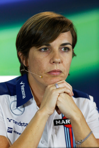 Marina Bay Circuit, Singapore. Friday 18 September 2015. Claire Williams, Deputy Team Principal, Williams F1, in the team principals Press Conference. World Copyright: Alastair Staley/LAT Photographic ref: Digital Image _79P0762