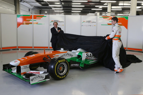Robert Fearnley (GBR) Force India F1 Team and Paul di Resta (GBR) Force India F1 unveilo the new Force India VJM06. Force India VJM06 Launch, Silverstone, England, 1 February 2013.