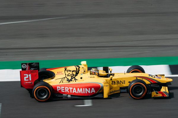 2017 FIA Formula 2 Round 6. Silverstone, Northamptonshire, UK. Thursday 13 July 2017. Sean Gelael (INA, Pertamina Arden).  Photo: Malcolm Griffiths/FIA Formula 2. ref: Digital Image MALC2736