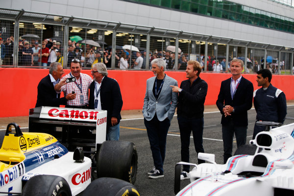 Williams 40 Event Silverstone, Northants, UK Friday 2 June 2017. L-R: Riccardo Patrese, Nigel Mansell, Keke Rosberg, Damon Hill, Nico Rosberg, David Coulthard and Karun Chandhok. World Copyright: Joe Portlock/LAT Images ref: Digital Image _L5R0337
