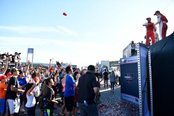IMSA WeatherTech SportsCar Championship AMERICA'S TIRE 250 Mazda Raceway Laguna Seca Monterey, CA USA Saturday 24 September 2017 Podium Crowd World Copyright: Richard Dole LAT Images ref: Digital Image RD_LS_17_310