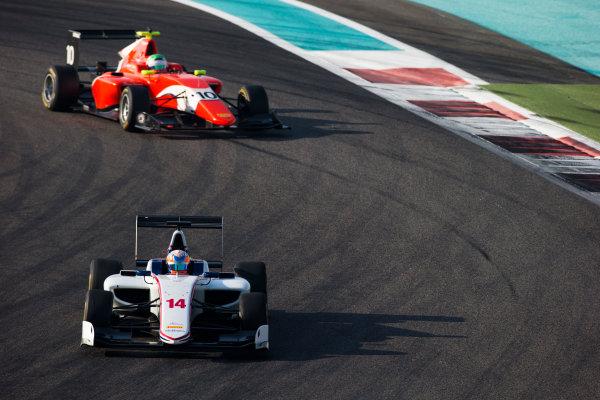 2016 GP3 Series Test 5. Yas Marina Circuit, Abu Dhabi, United Arab Emirates. Friday 2 December 2016. Tarun Reddy (IND, Koiranen GP) & Leonardo Pulcini (ITA, Arden International)  Photo: Sam Bloxham/GP3 Series Media Service. ref: Digital Image _SLB3868