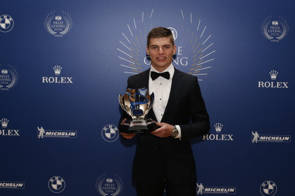 2016 FIA Prize Giving Vienna, Austria Friday 2nd December 2016 Max Verstappen. Photo: Copyright Free FOR EDITORIAL USE ONLY. Mandatory Credit: FIA ref: 30560146484_aeed8f5183_o