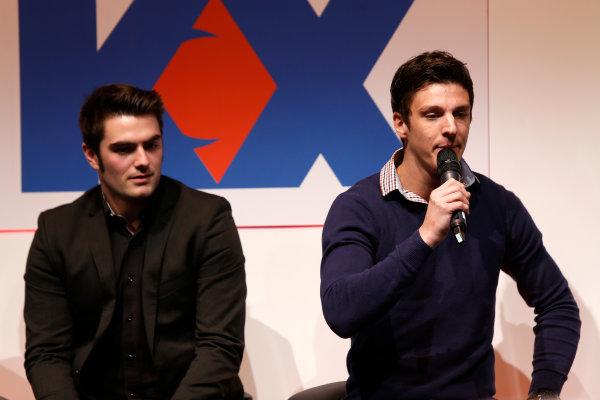 Autosport International Show NEC, Birmingham.  Sunday 12 January 2014. James Calado and Alex Lynn on the stage. World Copyright:Sam Bloxham/LAT Photographic ref: Digital Image _SBL2842