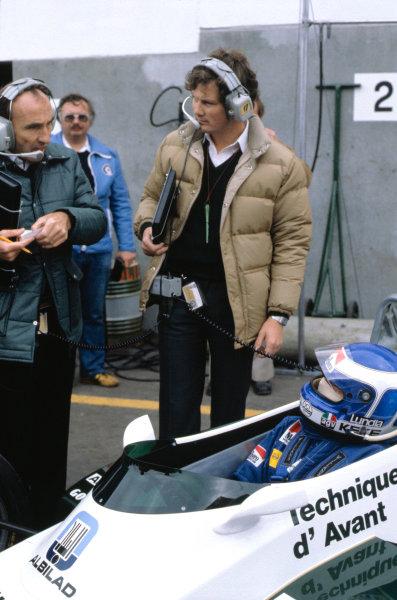 1982 Belgian Grand Prix.Zolder, Belgium. 9 May 1982.Frank Williams, Frank Dernie and Keke Rosberg.World Copyright:LAT Photographic