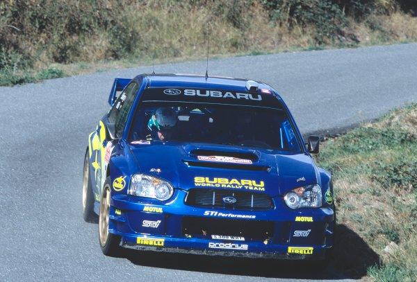 2003 World Rally ChampionshipRally of San Remo, Italy. 2nd - 5th October 2003.Petter Solberg / Philip Mills, Subaru Impreza WRC 2003, Apex of corner, action.World Copyright: McKLEIN/LATref: 35mm Image WRCSANREMO20 jpg