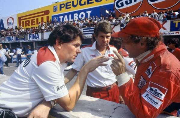 1982 Italian Grand Prix.Monza, Italy. 12 September 1982.John Barnard, Tyler Alexander and Niki Lauda, McLaren MP4/1B-Ford, retired, portrait.World Copyright: LAT PhotographicRef: 35mm transparency 82ITA29