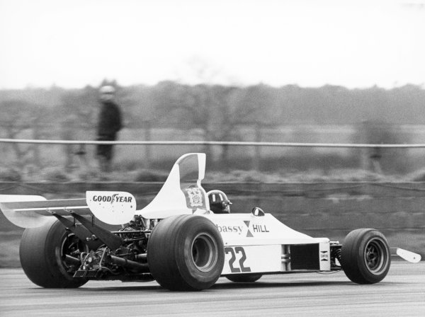 1975 British Grand Prix.Silverstone, Great Britain. 17th-19th July 1975.Graham Hill (Embassy Hill-GH1 Ford), drives a demonstration lap at his final British Grand Prix, action.World Copyright: LAT Photographic.ref: B/W print.