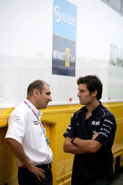2006 Hungarian Grand Prix - Saturday Qualifying Hungaroring, Budapest, Hungary. 3rd - 6th August. Bruno Michel and Mark Webber, portrait. World Copyright: Charles Coates/LAT Photographic ref: Digital Image ZK5Y4120