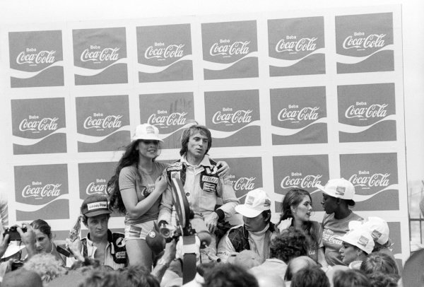 The podium (L to R): Patrick Depailler (FRA) Tyrrell, second; Jacques Laffite (FRA) Ligier, race winner; Didier Pironi (FRA) Tyrrell, fourth, but was originally credited with third when it was incorrectly assumed third placed Carlos Reutemann (ARG) Lotus had been given a push start at the start of the race.