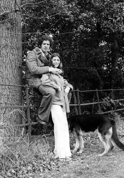 Jody Scheckter (RSA) Tyrrell at home with his wife Pam and his dog. Formula One World Championship, England, 1974.