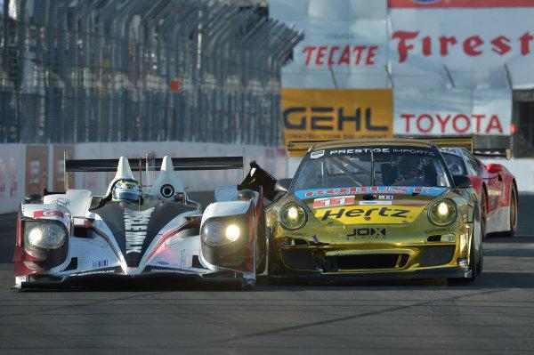 19-20 April, 2013, Long Beach, California.#6 Muscle Milk Picket Racing HPD ARX-03a touching #11 Porsche ©2013 Dan R. Boyd LAT Photo USA