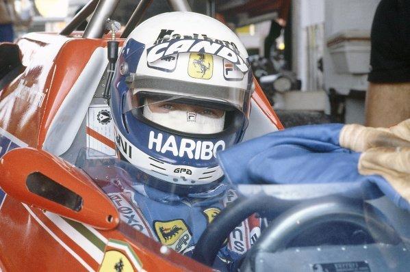 1981 Brazilian Grand Prix.Jacarepagua, Rio de Janeiro, Brazil. 27-29 March 1981.Didier Pironi (Ferrari 126C), retired. Portrait, helmet.World Copyright: LAT PhotographicRef: 35mm transparency 81BRA07
