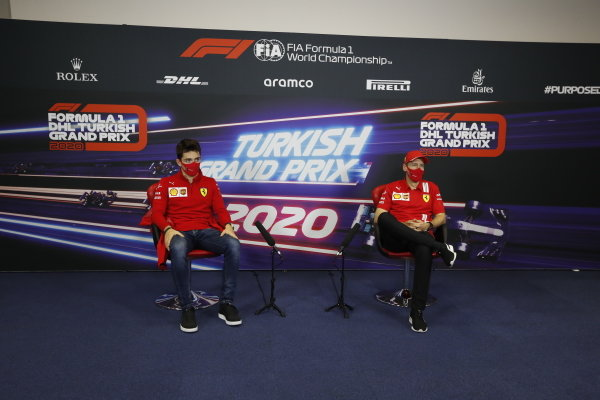 Charles Leclerc, Ferrari and Sebastian Vettel, Ferrari, in the press conference