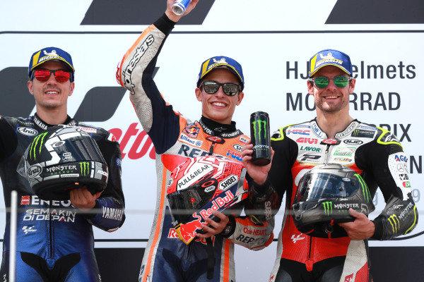 Podium: race winner Marc Marquez, Repsol Honda Team, second place Maverick Vinales, Yamaha Factory Racing, third place Cal Crutchlow, Team LCR Honda.