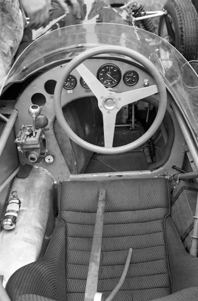 The cockpit on the Ferguson P99 Climax has the driving position slightly off-centre to accommodate the gearbox and rear driveshaft to the driver's left hand side