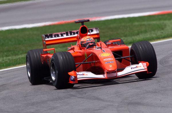 2001 Malaysian Grand Prix.Sepang, Kuala Lumpur, Malaysia. 16-18 March 2001.Michael Schumacher (Ferrari F2001) 1st position.World Copyright - Steve Etherington/LAT Photographic.ref: 18mb Digital Image