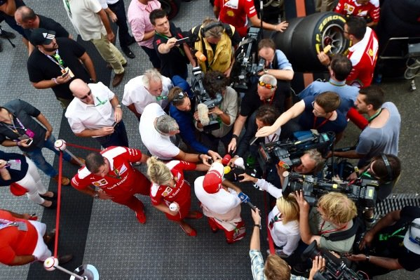 Sebastian Vettel (GER) Ferrari talks to the media at Formula One World Championship, Rd12, German Grand Prix, Practice, Hockenheim, Germany, Friday 29 July 2016.