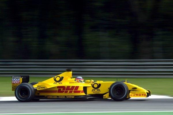 Takuma Sato (JPN) Jordan Honda EJ12.Italian Grand Prix, Monza, Italy. 13 September 2002.DIGITAL IMAGE