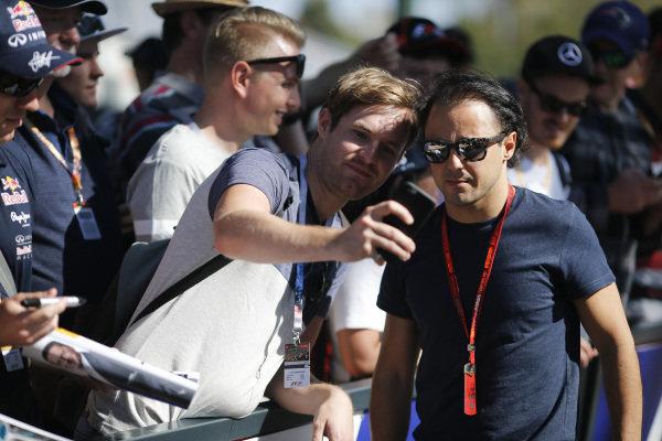 Felipe Massa (BRA) Williams poses for a selfie with the fans at Formula One World Championship, Rd1, Australian Grand Prix, Preparations, Albert Park, Melbourne, Australia, Thursday 17 March 2016.