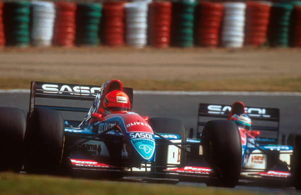 1993 Japanese Grand Prix.Suzuka, Japan.22-24 October 1993.Eddie Irvine followed by teammate Rubens Barrichello (both Jordan 193 Hart's). They finished in 6th and 5th positions respectively. Ref-93 JAP 06.World Copyright - LAT Photographic