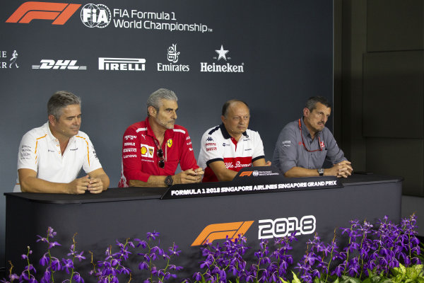 (L to R): Gil de Ferrarn, Sporting Director, McLaren, Maurizio Arrivabene, Team Principal, Ferrari, Frederic Vasseur, Alfa Romeo Sauber F1 Team, Team Principal, and Guenther Steiner, Team Principal, Haas F1 in the Press Conference