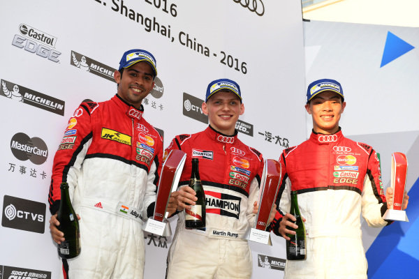 Aditya Patel (IND) Team Audi R8 LMS Cup 2nd Position, race winner Martin Rump (EST) Champion Racing Team, Akash Nandy (MAL) KCMGd Thong Wei Fung (HK) Phoenix Racing Asia 3rd Position celebrate victory on the Podium after Race 2 at Audi R8 LMS Cup, Rd11 and Rd12, Shanghai International Circuit, Shanghai, China, 4-5 November 2016.