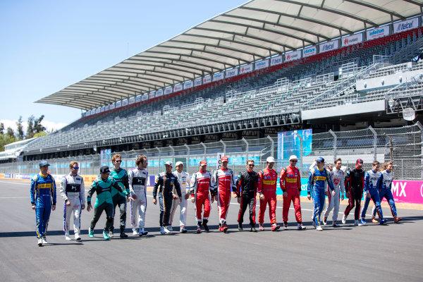 2015/2016 FIA Formula E Championship. Mexico City ePrix, Autodromo Hermanos Rodriguez, Mexico City, Mexico. Friday 11 March 2016. The drivers pose for a group photo. Photo: Zak Mauger/LAT/Formula E ref: Digital Image _79P2669