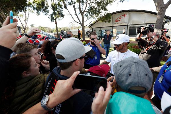 Albert Park, Melbourne, Australia. Wednesday 22 March 2017. Lewis Hamilton, Mercedes AMG, meets fans. World Copyright: Sam Bloxham/LAT Images ref: Digital Image _W6I0292