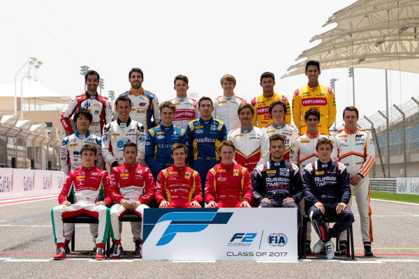 2017 FIA Formula 2 Round 1. Bahrain International Circuit, Sakhir, Bahrain.  Thursday 13 April 2017. Class photo on the grid. Photo: Zak Mauger/FIA Formula 2. ref: Digital Image _56I8892