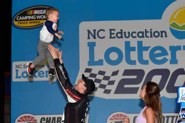 NASCAR Camping World Truck Series North Carolina Education Lottery 200 Charlotte Motor Speedway, Concord, NC USA Friday 19 May 2017 Kyle Busch, Cessna Toyota Tundra celebrates his win in Victory Lane World Copyright: Nigel Kinrade LAT Images ref: Digital Image 17CLT1nk04950