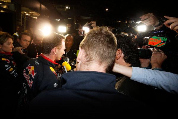 Albert Park, Melbourne, Australia. Sunday 16 March 2014. Christian Horner, Team Principal, Red Bull Racing, addresses the media regarding the disqualification of the car of Daniel Ricciardo, Red Bull Racing. World Copyright: Charles Coates/LAT Photographic. ref: Digital Image _J5R6551