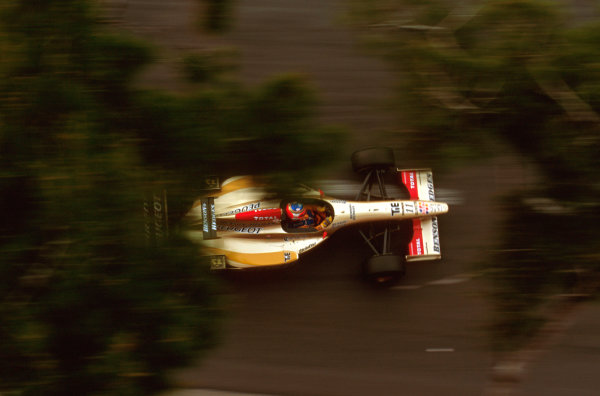 Monte Carlo, Monaco.16-19 May 1996.Rubens Barrichello (Jordan 196 Peugeot) failed to finish after he spun out on the first lap.Ref-96 MON 17.World Copyright - LAT Photographic