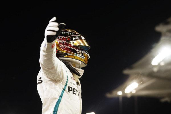 Lewis Hamilton, Mercedes AMG F1, celebrates after taking pole position