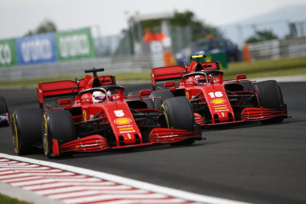 Sebastian Vettel, Ferrari SF1000, leads Charles Leclerc, Ferrari SF1000