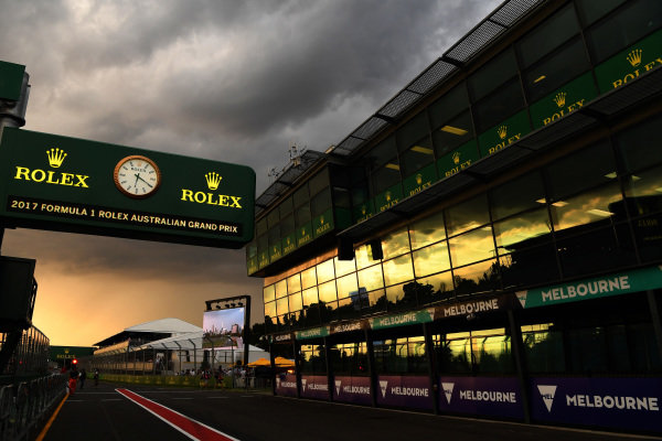 Sunset in pit lane at Formula One World Championship, Rd1, Australian Grand Prix, Qualifying, Albert Park, Melbourne, Australia, Saturday 25 March 2017.