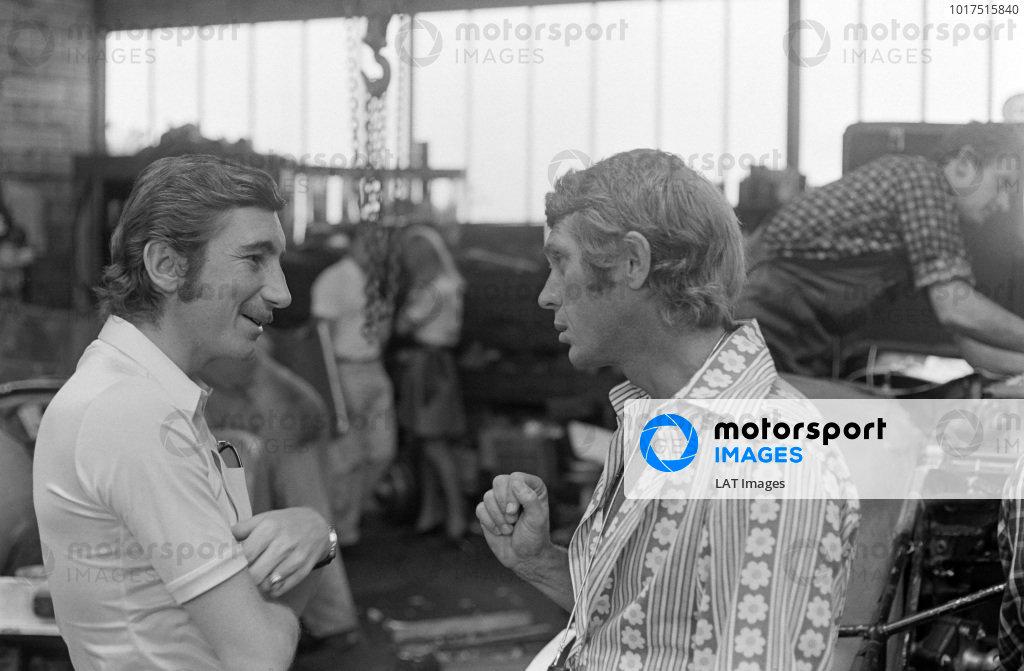 Jo Siffert in conversation with actor, Steve McQueen.