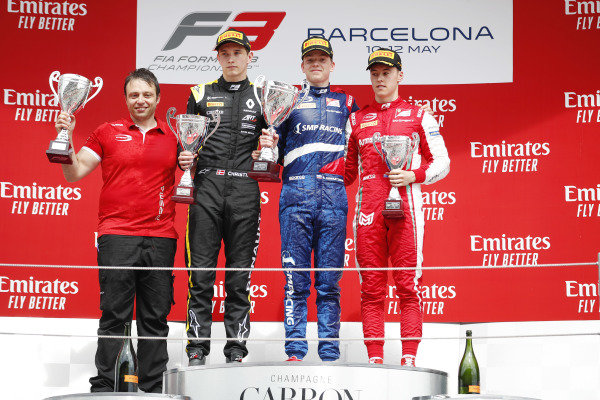Robert Shwartzman (RUS) PREMA Racing, celebrates on the podium, with Christian Lundgaard (DNK) ART Grand Prix, and Marcus Armstrong (NZL) PREMA Racing