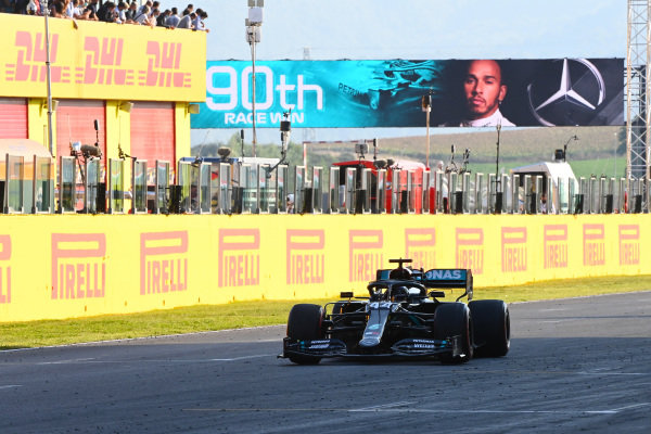 Lewis Hamilton, Mercedes F1 W11 EQ Performance , 1st position, takes victory